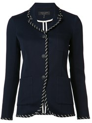 Rag And Bone Stripe Applique Fitted Jacket Blue