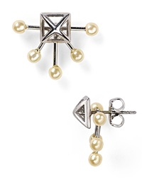 Rebecca Minkoff Pyramid Fan Stud Earrings Rhodium Pearl