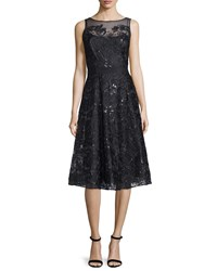Rickie Freeman For Teri Jon Sleeveless Lace Belted Flared Dress Black
