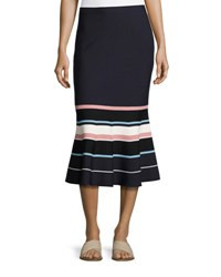 Grey By Jason Wu Striped Fit And Flare Knit Midi Skirt Navy