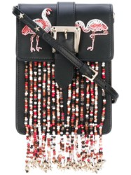 Red Valentino Beaded Details Crossbody Bag Women Calf Leather Pvc One Size Black