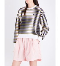 Chocoolate Striped Cotton Jersey Sweatshirt White