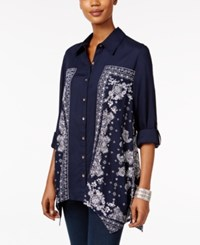Styleandco. Style Co. Printed Handkerchief Hem Shirt Only At Macy's Blue