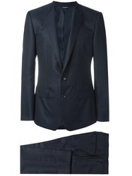 Dolce And Gabbana Patterned Suit Blue