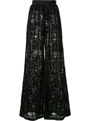 Puma Wide Leg Velvet Patterned Trousers Black