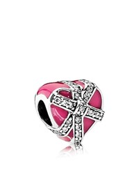 Pandora Design Charm Sterling Silver Cubic Zirconia And Enamel Gift Of Love Moments Collection Pink White