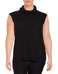 Modamix Plus Cap Sleeve Cowl Neck Sweater Black Heather