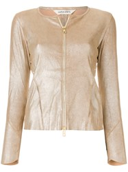 Giorgio Brato Collarless Zipped Metallic Jacket