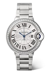 Cartier Ballon Bleu De 33Mm Stainless Steel And Diamond Watch Silver