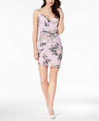 Guess Tropical Iris Ruched Bodycon Dress Tropic Iris Lavender