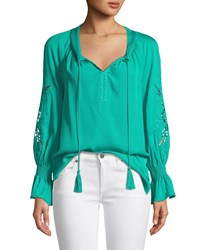 Kobi Halperin Peggy Lace Embroidered Silk Blouse Seagreen