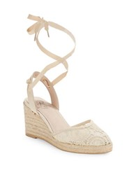 Adrianna Papell Penny Lace Wedge Sandals Natural