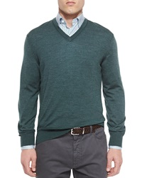 Ermenegildo Zegna Cashmere Blend V Neck Sweater Green