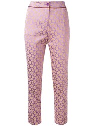Etro Paisley Pattern Cropped Trousers Pink Purple