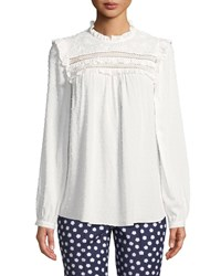 Kate Spade Swiss Dot Long Sleeve Blouse With Ruffled Trim Cream