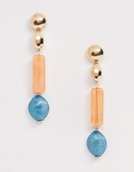 Asos Design Earrings With Shell Style Resin And Pastel Resin Drop In Gold Tone