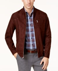Tasso Elba Men's Suede Bomber Jacket Created For Macy's Brown Combo