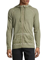 Cohesive Falin 2 Burnout Waffle Knit Hoodie Army