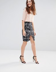 Sugarhill Boutique Gina Dark Floral Stretch Cotton Skirt Navy