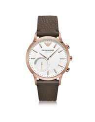 Emporio Armani Connected Rose Gold Tone Pvd Stainless Steel Hybrid Men's Smartwatch W Leather Strap Brown