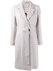 Peserico Belted Single Breasted Coat Grey