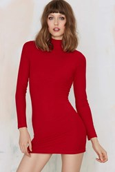Nasty Gal After Party Vintage Ready To Mock Ribbed Turtleneck Dress