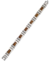 Proposition Love Men's Stainless Steel And Wood Link Bracelet