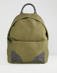Ted Baker Graveet Backpack In Faux Nubuck Green