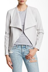 Bb Dakota Arianna Drape Front Faux Leather Jacket Gray