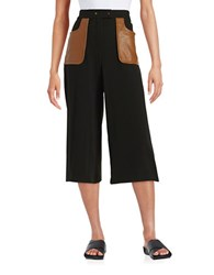 Tracy Reese Faux Leather Accented Culottes