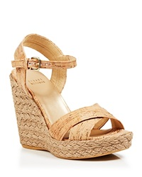 Stuart Weitzman Platform Wedge Sandals Numinx Cork Espadrille Natural Cork