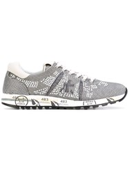 Premiata Embellished Lace Up Sneakers Women Leather Nylon Rubber 37 Grey