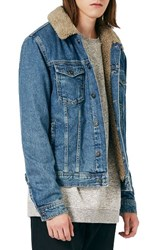 Topman Men's Denim Jacket With Faux Shearling Collar