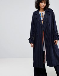 2Nd Day Stripe Trench Coat Navy