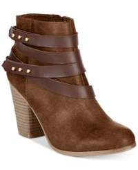 Material Girl Mini Strapped Booties Only At Macy's Women's Shoes Brown