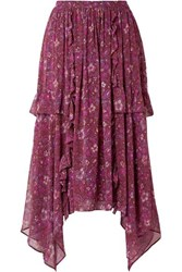 Ulla Johnson Torri Asymmetric Printed Silk Chiffon Skirt Plum