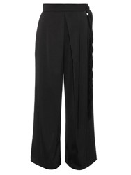 Maison Rabih Kayrouz Belted Wide Leg Silk Blend Satin Trousers Black