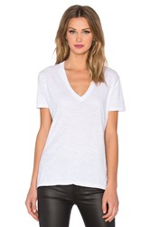 Monrow Oversized V Neck Tee White