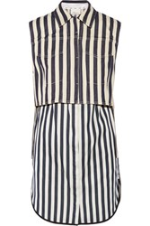 3.1 Phillip Lim Denim And Satin Twill Mini Dress And Vest Set Navy