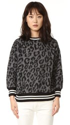 R 13 Leopard Sweater Grey Leopard