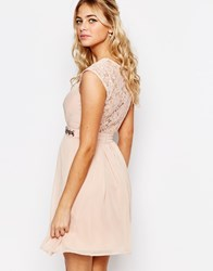Elise Ryan Embellished Waist Skater Dress With Lace Back Pink