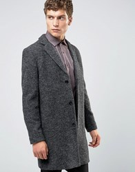 Selected Homme Overcoat In Boucle In Charcoal Grey Black Tan
