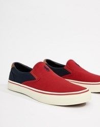 Polo Ralph Lauren Thompson Canvas Slip On Plimsolls 2 Colour Leather Trims In Red Navy Rl 2000 Red Navy
