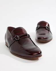 Ted Baker Paiser Embossed Loafers In Patent Burgundy Leather Red