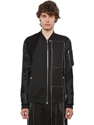 Rick Owens Embroidered Wool And Viscose Bomber Jacket Black