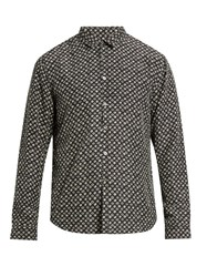 John Varvatos Swirl Print Sandwashed Silk Shirt Grey