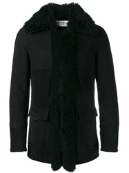 Saint Laurent Shearling Coat Black