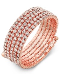 Inc International Concepts Rose Gold Tone Multi Crystal Coil Bracelet Only At Macy's