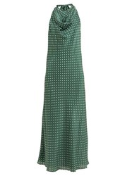 Raey Halterneck Polka Dot Silk Dress Green Print