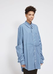 Vetements 'S Deconstructed Double Shirt In Blue Check Size Xs 100 Cotton